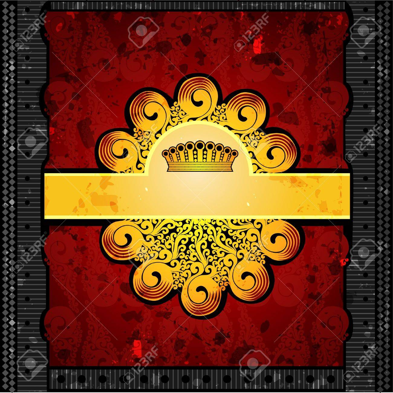 luxury red background with gold royal banner Stock Vector - 18181176
