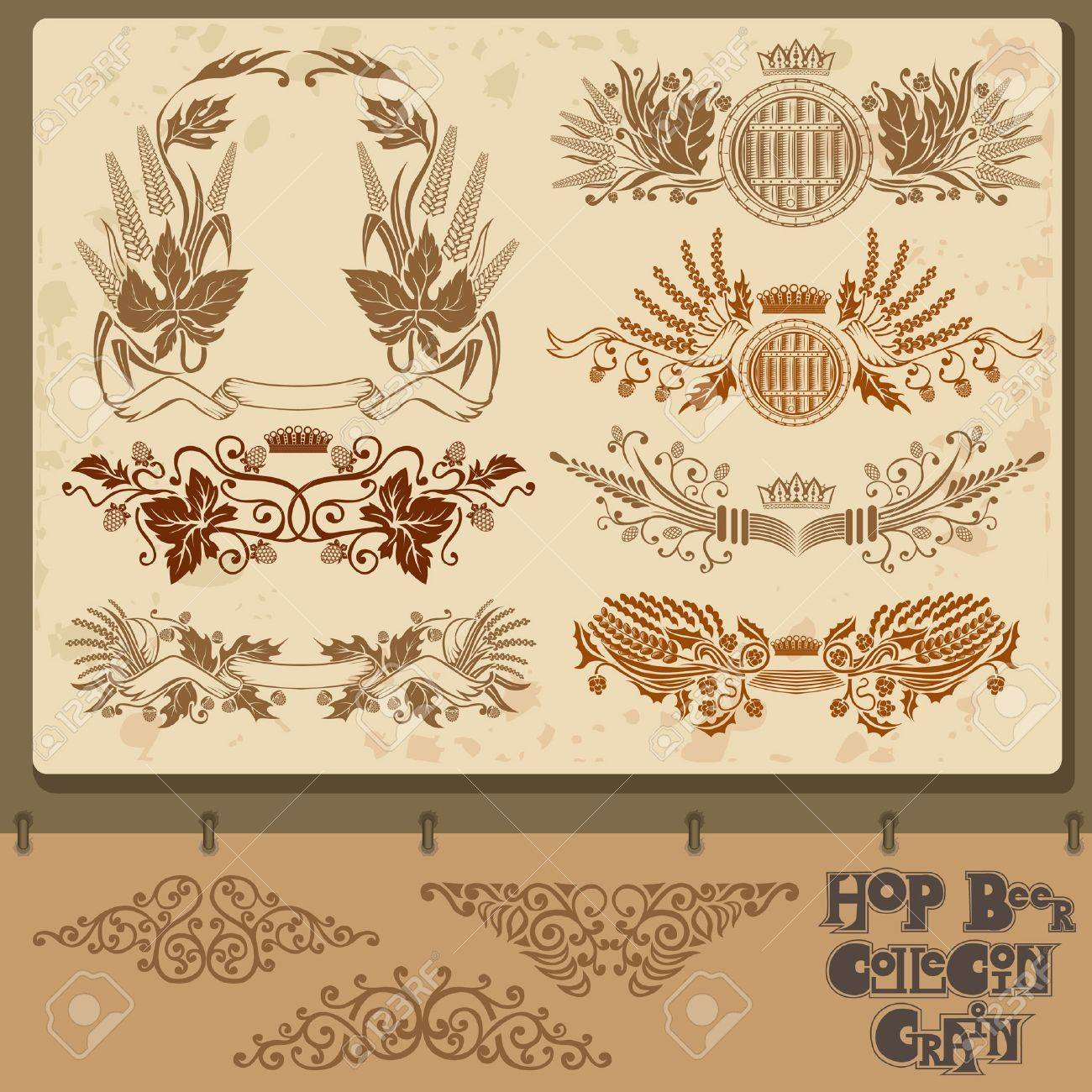 hop beer set element collection with mug Stock Vector - 18204131