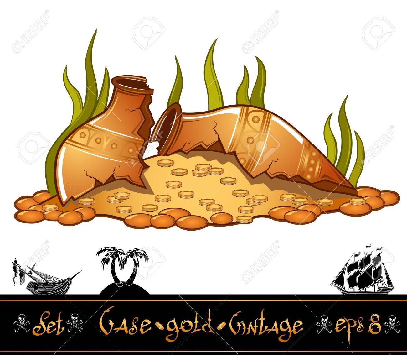 two broken vintage vase wirh gold and treasure Stock Vector - 18204100