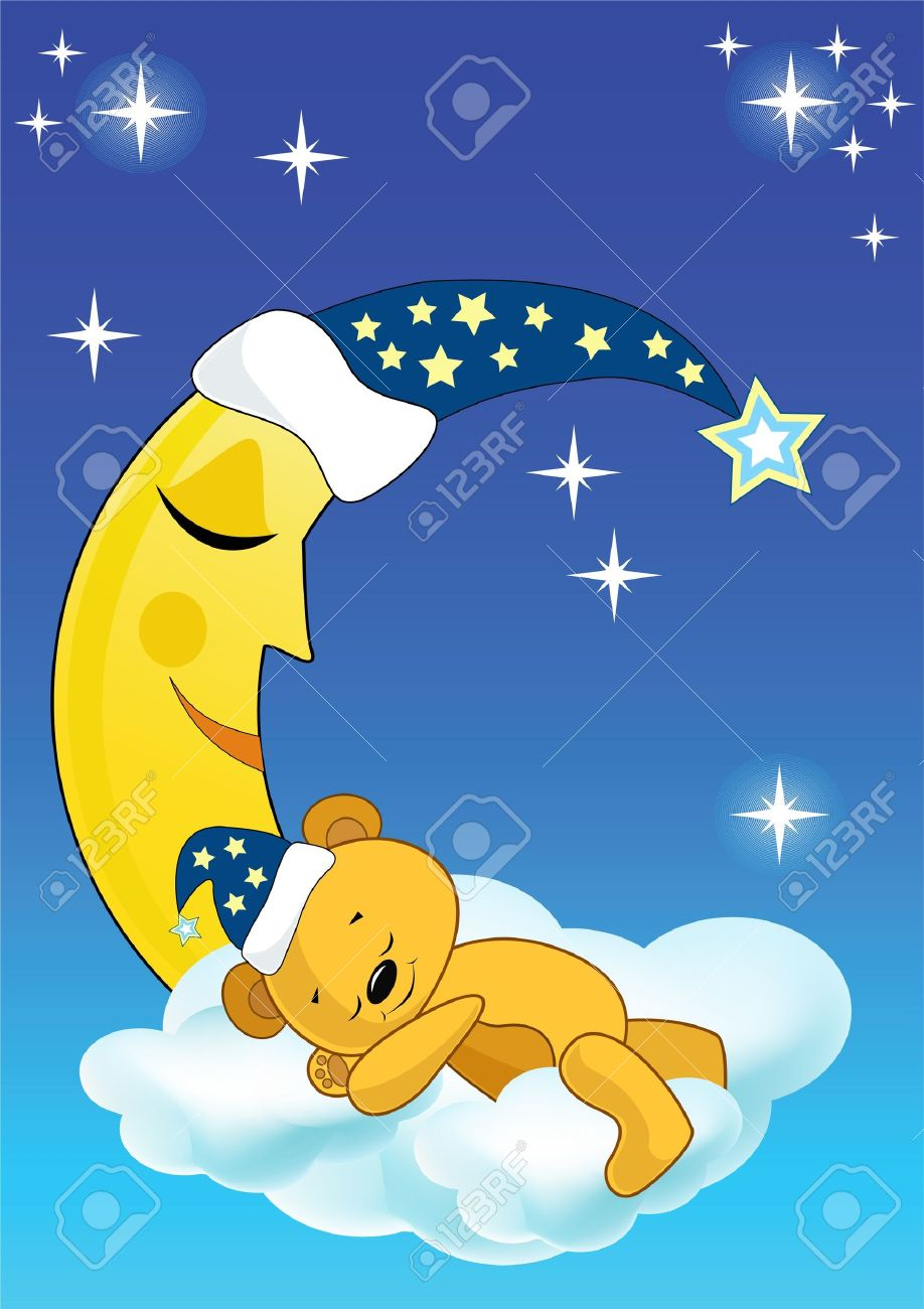 The teddy bear sleeps. Vector illustration. Stock Vector - 11385960