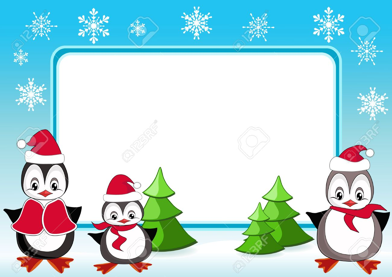 baby penguins christmas frame vector illustration royalty free