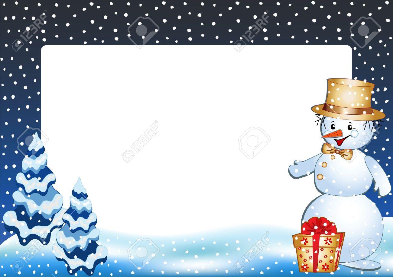 Funny snowman. Winter photo frame. Vector  illustration. Stock Vector - 11647902