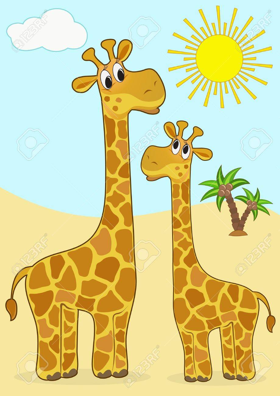 Mother Giraffe And Baby Giraffe Vector Illustration Royalty Free