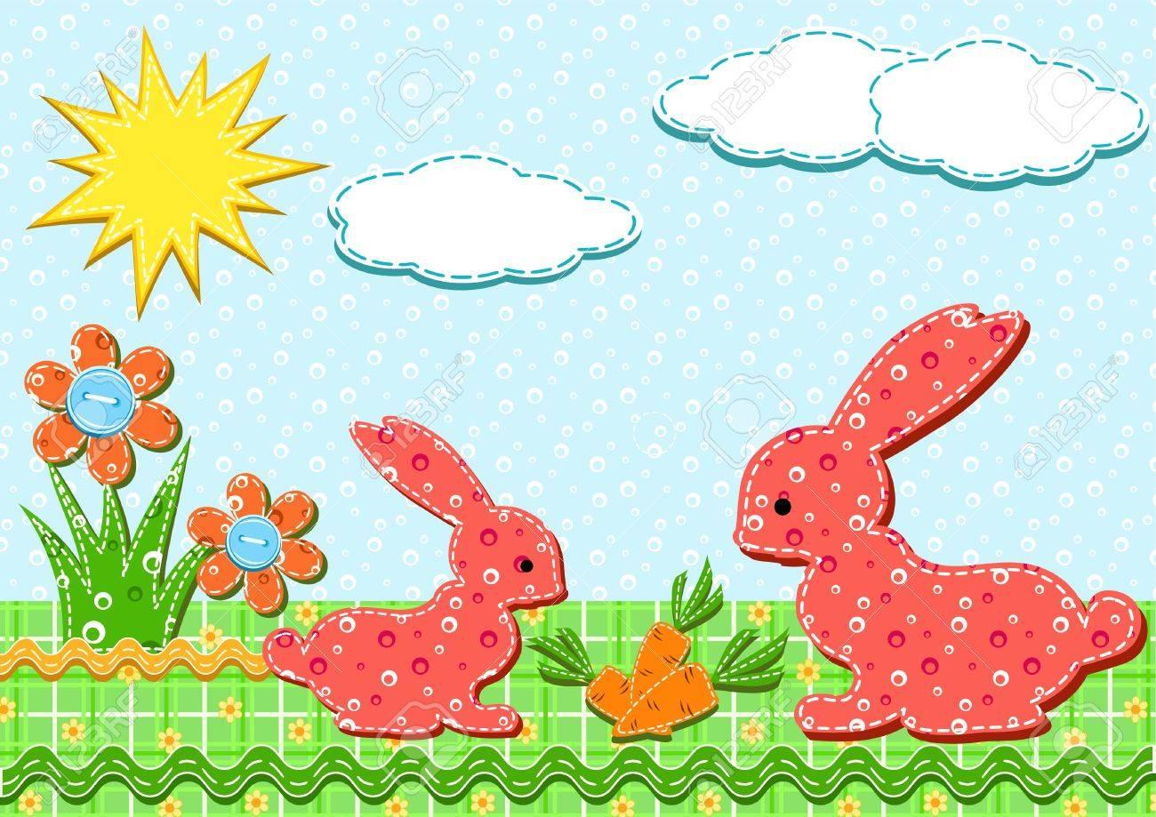 Baby card. Rabbits. Vector illustration. Stock Vector - 11647794