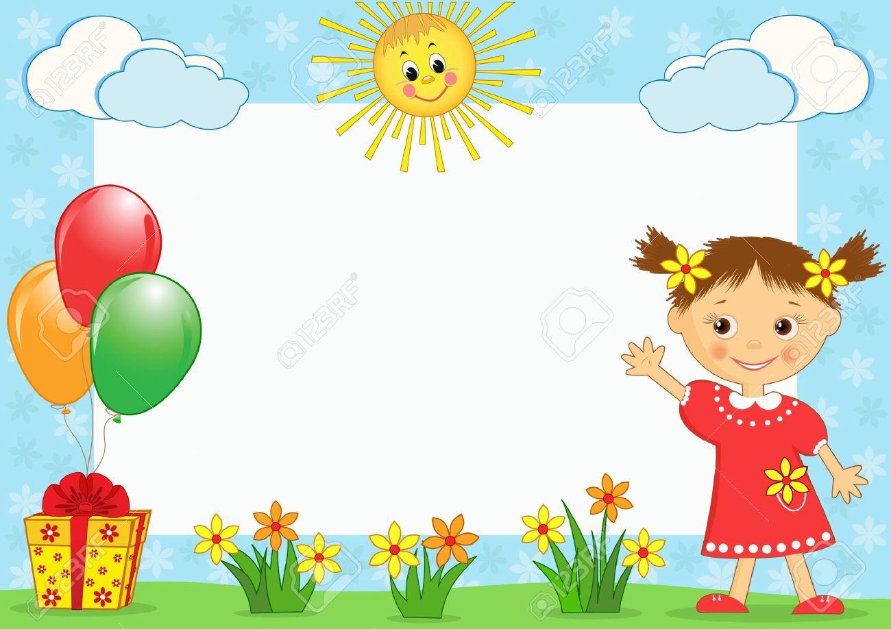 children photo framework vector illustration royalty free