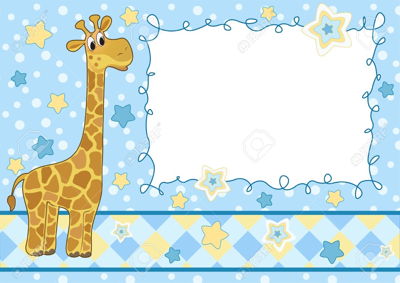 Baby Frame With Giraffe. Arrival Card. Royalty Free Cliparts ...