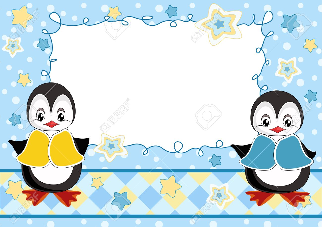 Baby greeting card with penguins Stock Vector - 12484770
