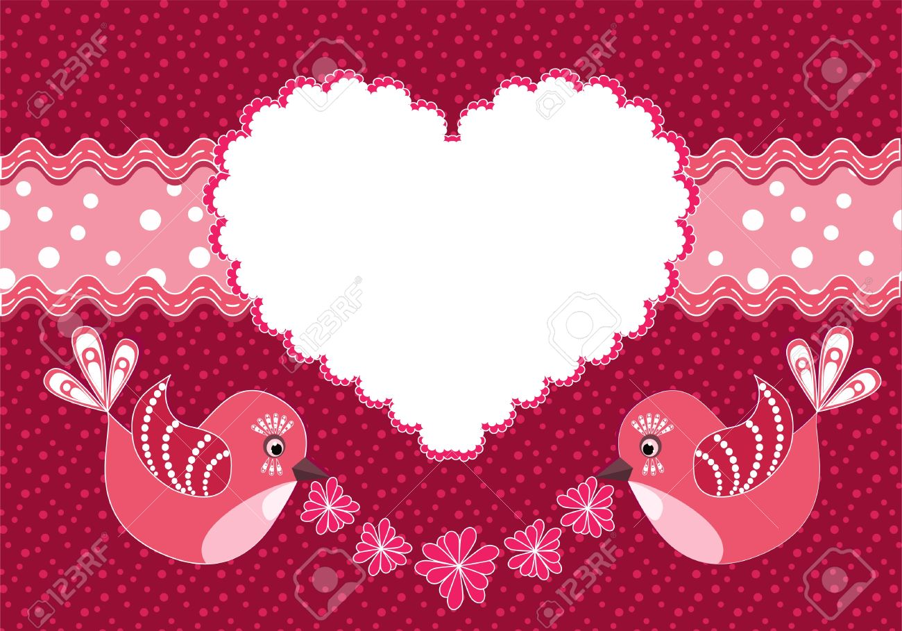 Baby background with birds and heart. Stock Vector - 12485189