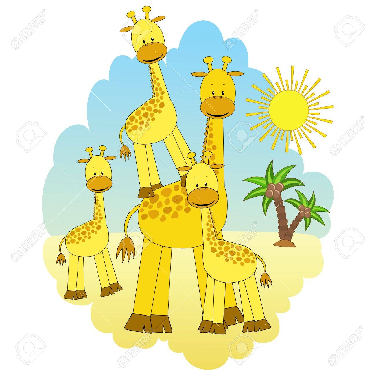 mother giraffe and baby giraffes royalty free cliparts vectors