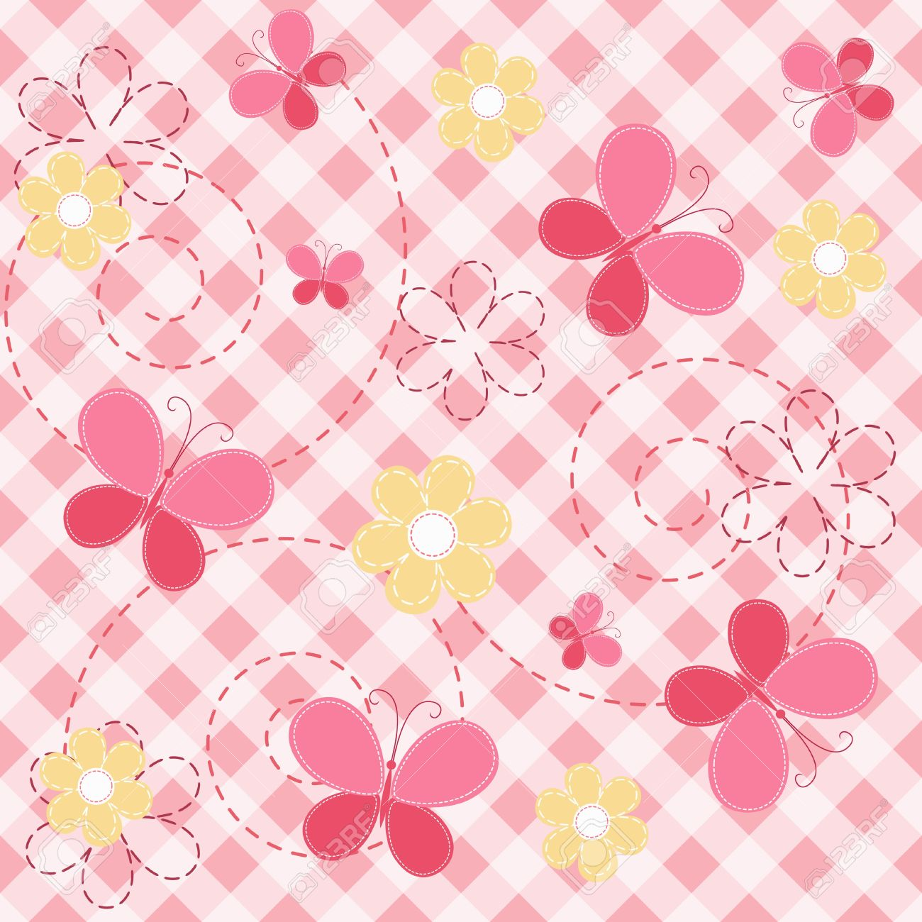 Pink butterfly vector background hd wallpapers pink butterfly vector - Pink Baby Seamless With Butterfly Stock Vector 12485697