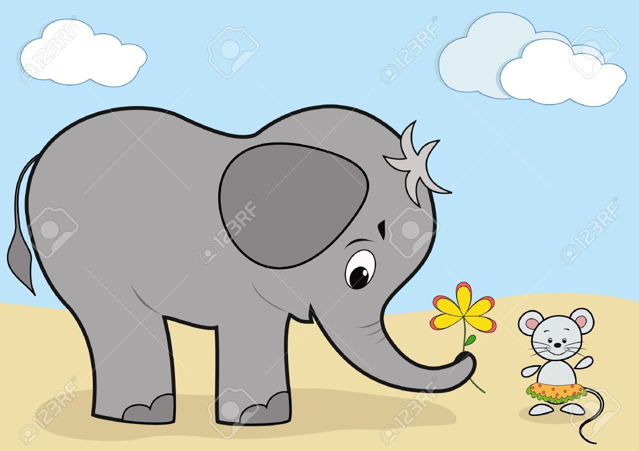 Baby elephant and mouse Stock Vector - 12487094