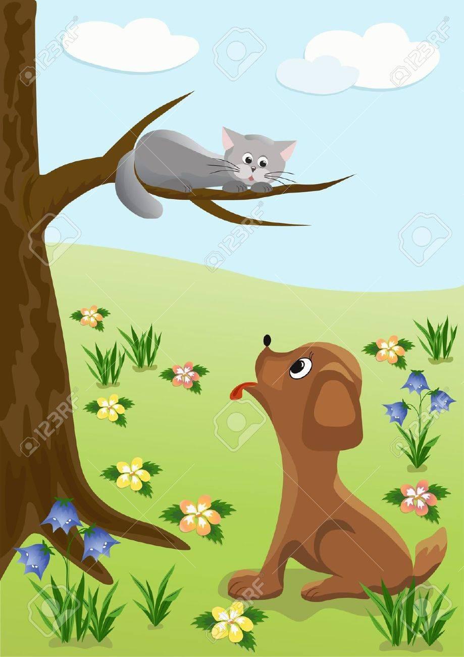 Dog and cat  Cartoon, Stock Vector - 12487416