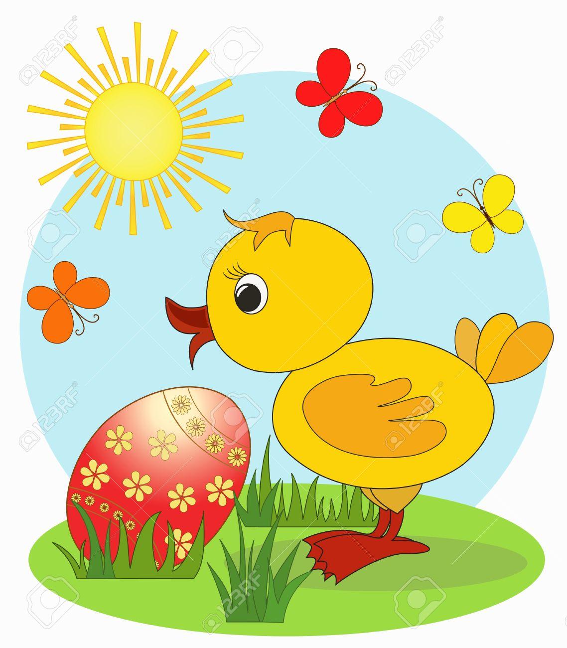 Duckling  Easter card, cartoon, Stock Vector - 12487404