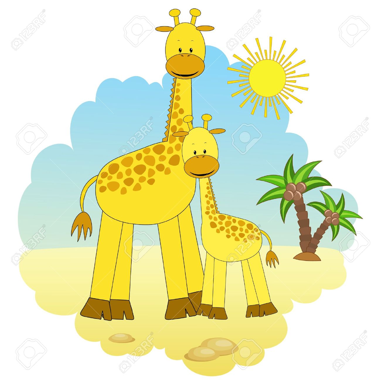 mother giraffe and baby giraffe royalty free cliparts vectors