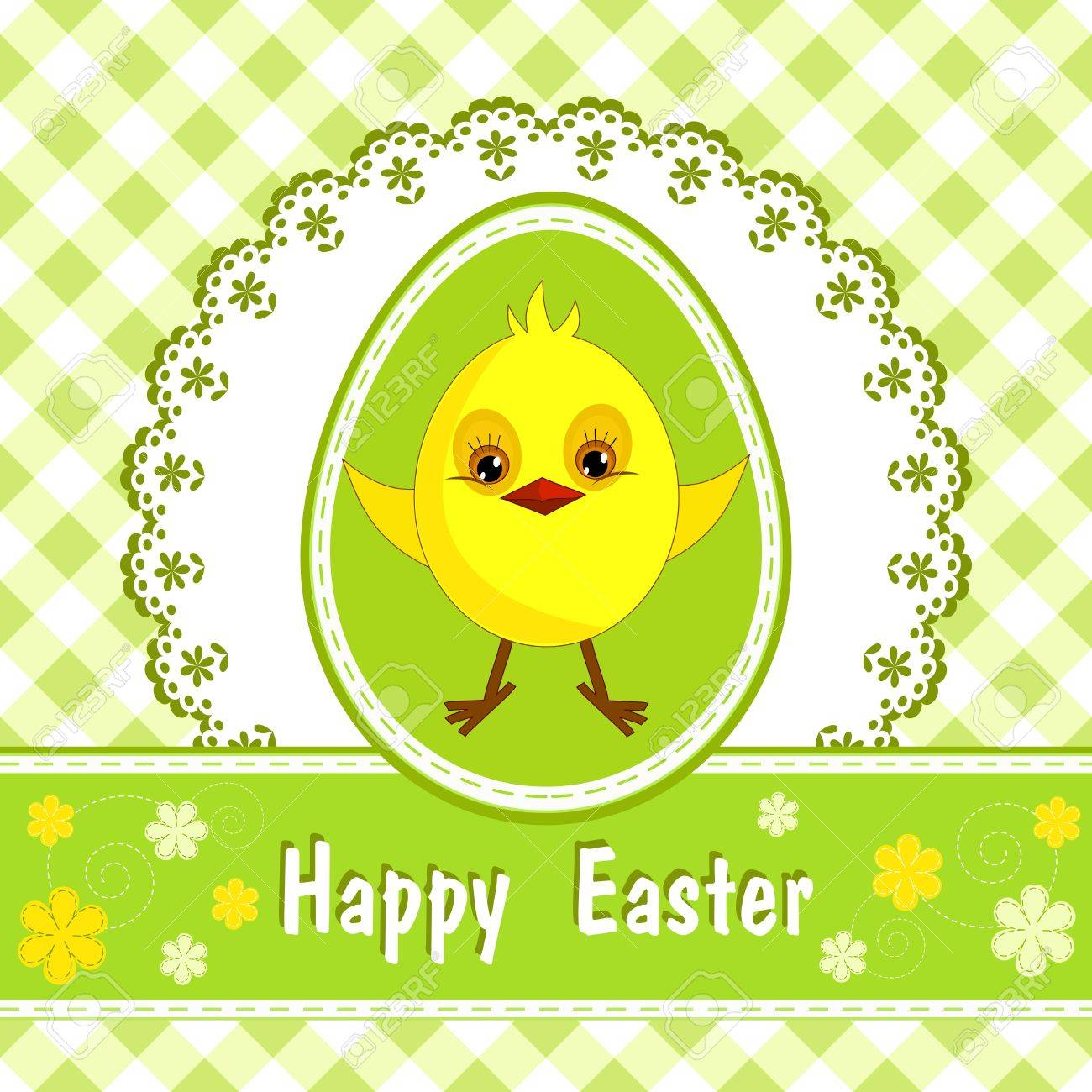 Congratulation card with chicken  Happy Easter Stock Vector - 12487857
