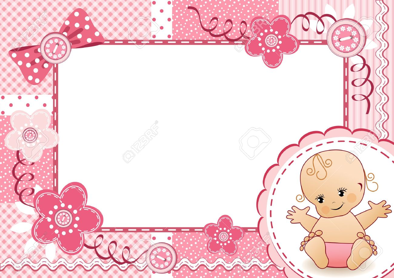 pink baby frame stock vector 16184112