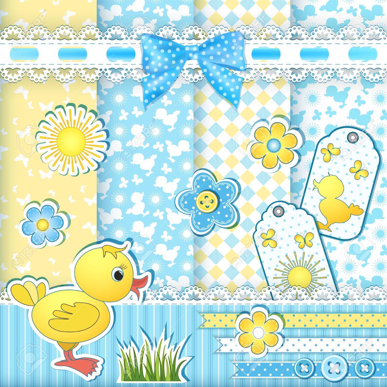 Set baby patterns  Duckling  Vector illustration Stock Vector - 18253914