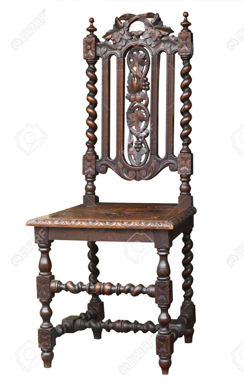 Ornate Antique Chair isolated with clipping . Stock Photo - 5031238