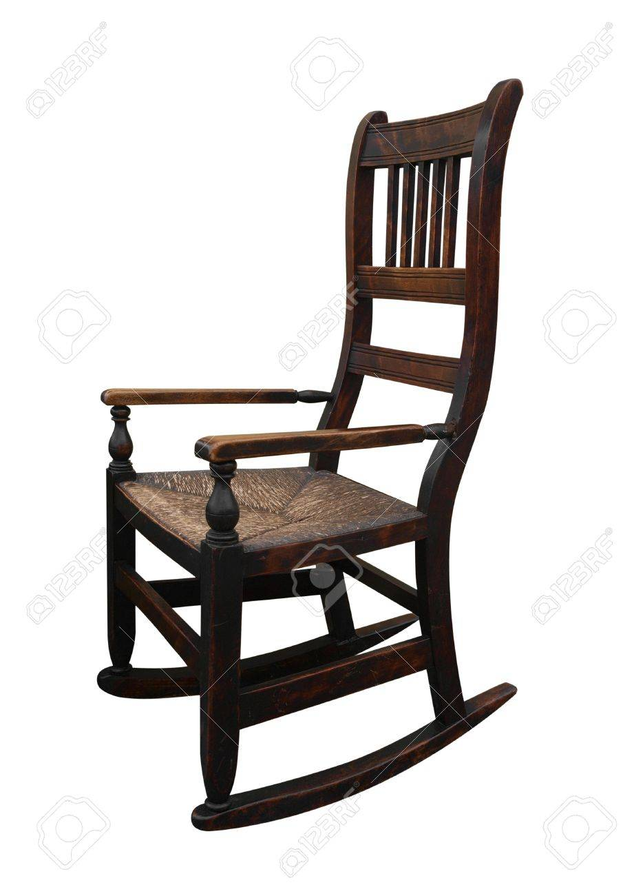 Old Wooden Rocking Chair Stock Photo