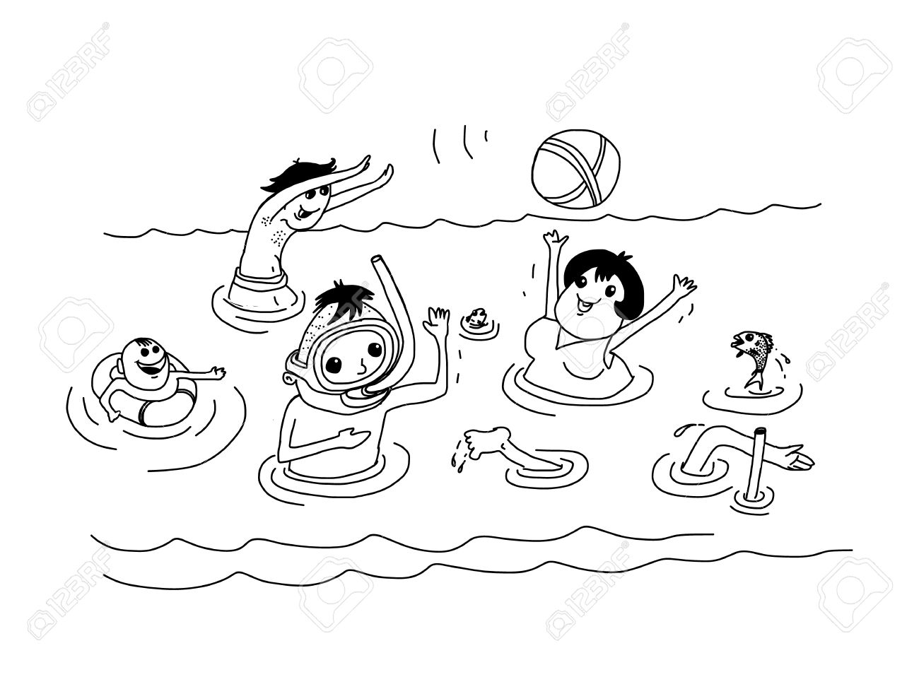 Summer Vacation Holiday Family In Sea Vector Doodle Style Hand Drawing Stock