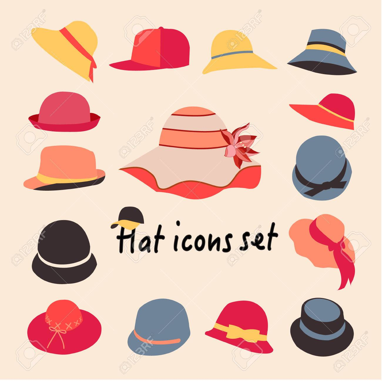 Vector Collection Of Hats For Men And Women Icons Set Different Royalty Free Cliparts Vectors And Stock Illustration Image 41789379
