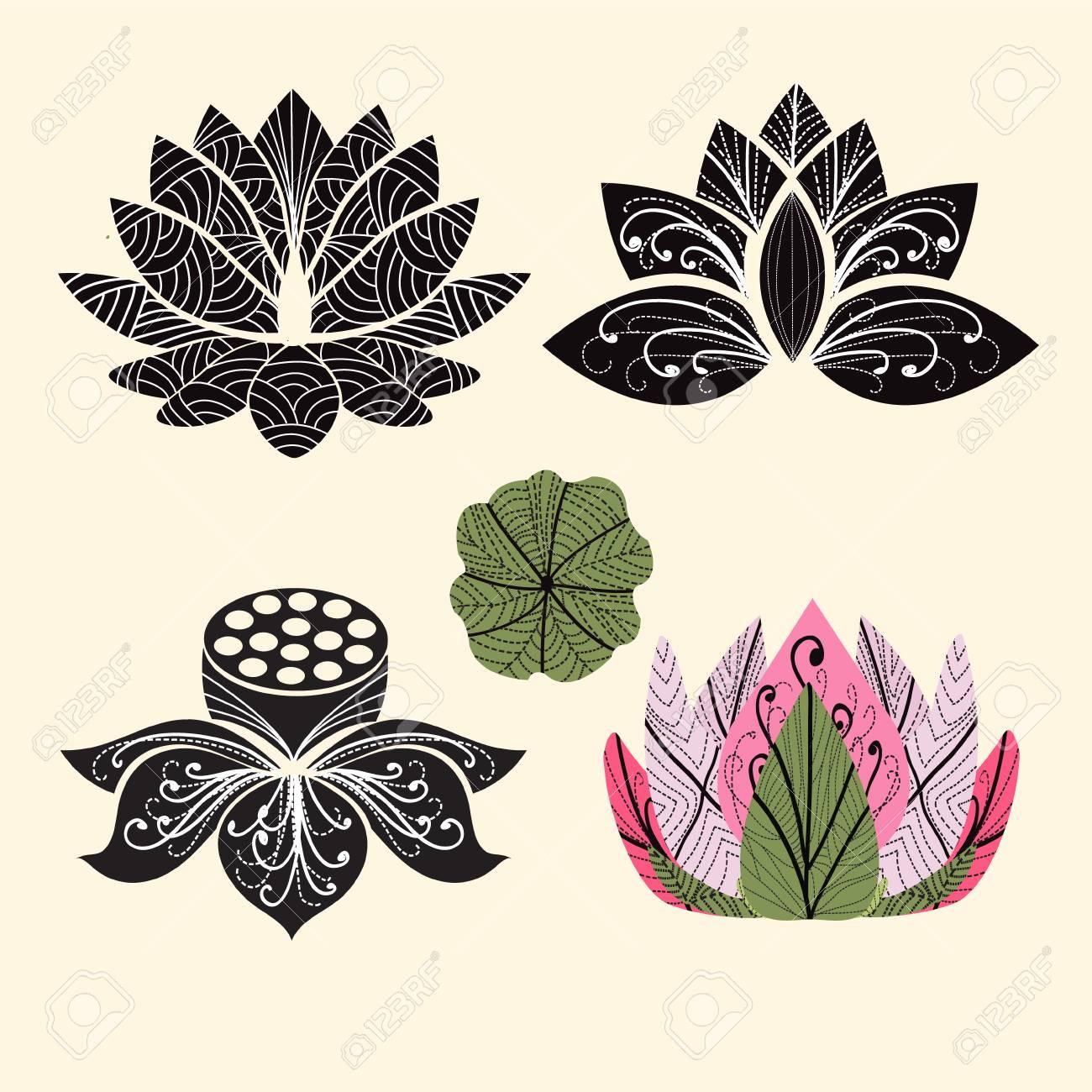 Beliebt Vector Fleurs De Lotus Silhouettes. Ensemble De Vecteur Lotus Main  TG49
