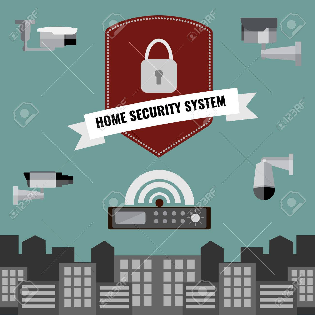 Home Security Cctv Cam System Flat Design Set Stock Vector   43202598