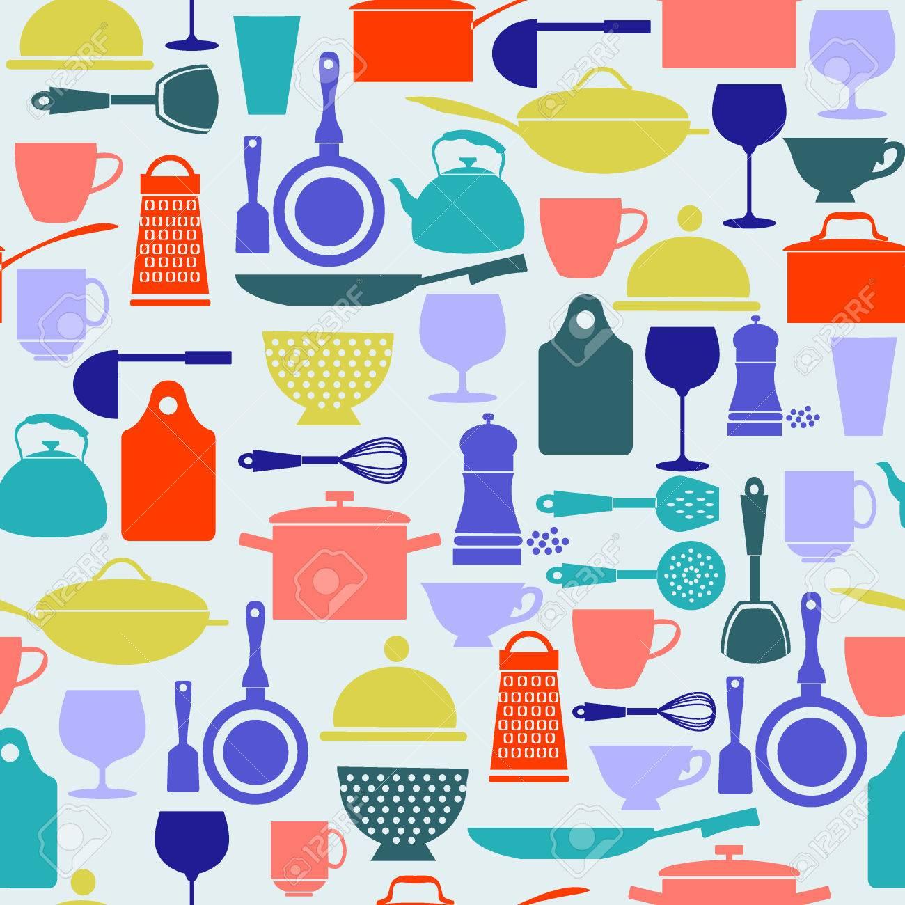Küchenutensilien Und Ein Restaurant, Glaswaren Symbole In Flaches ...