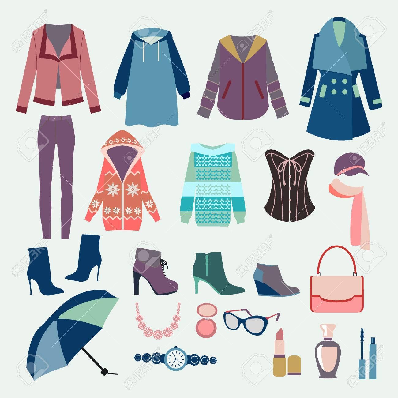 984f74b21c20 Vector de fondo con la colección de ropa de invierno y accesorios para ver  el diseño de moda. Mujer ropa de colección para el diseño de la boutique de  ...