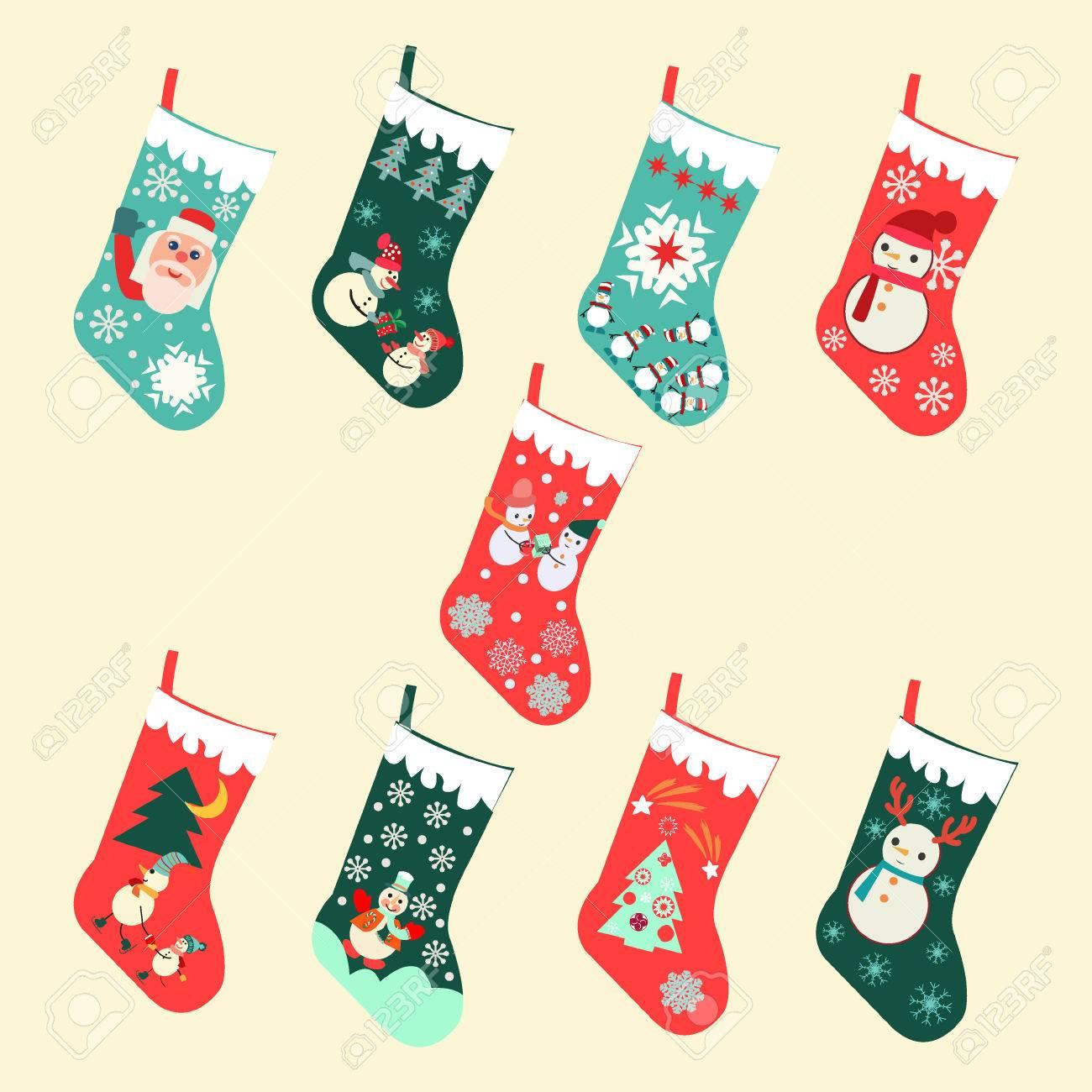 Christmas Stockings Cartoon.Vector Set Of Cute Cartoon Christmas Socks Illustration