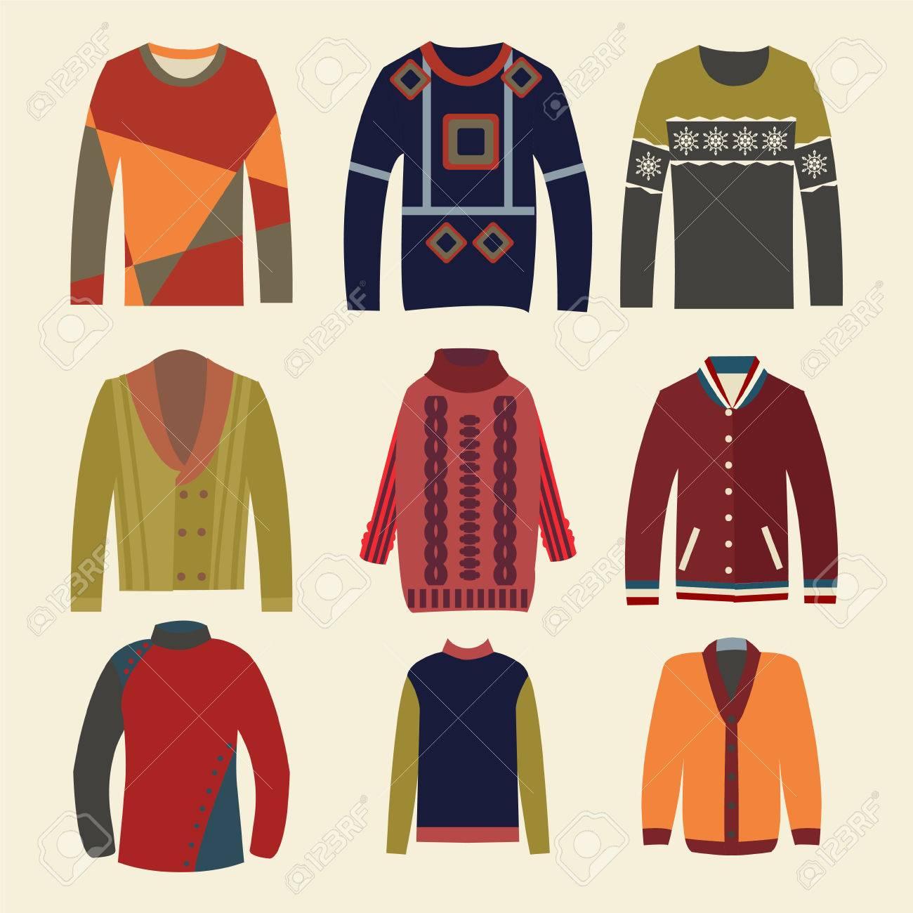 Conjunto De Suéteres De Punto De Los Hombres Con Los Patrones ...
