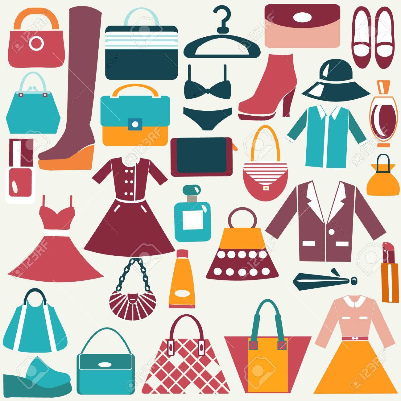 730fe8fcef87 Foto de archivo - Ropa y accesorios iconos de época plano del color del  icono de la moda del bolso de iconos de compras