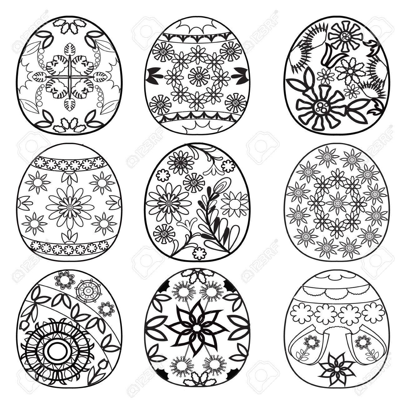 Dibujado A Mano Los Huevos De Pascua Para Colorear Libro Para ...
