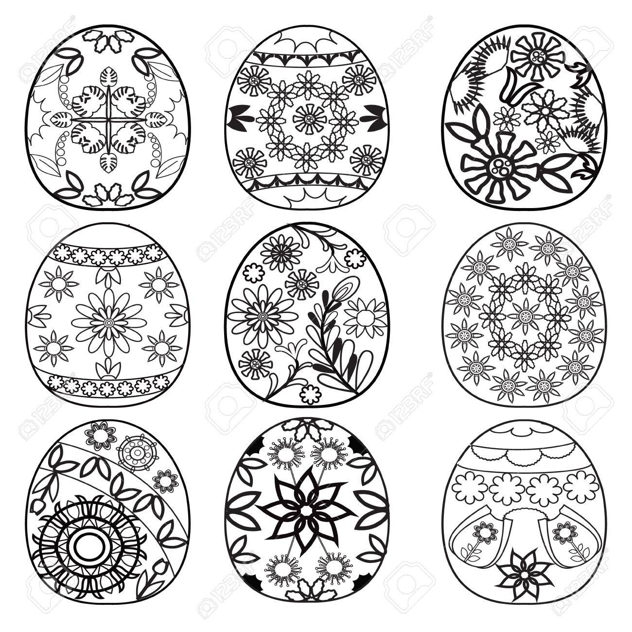 Hand Drawn Easter Eggs For Coloring Book Adult And Children Design Elements Stock Vector