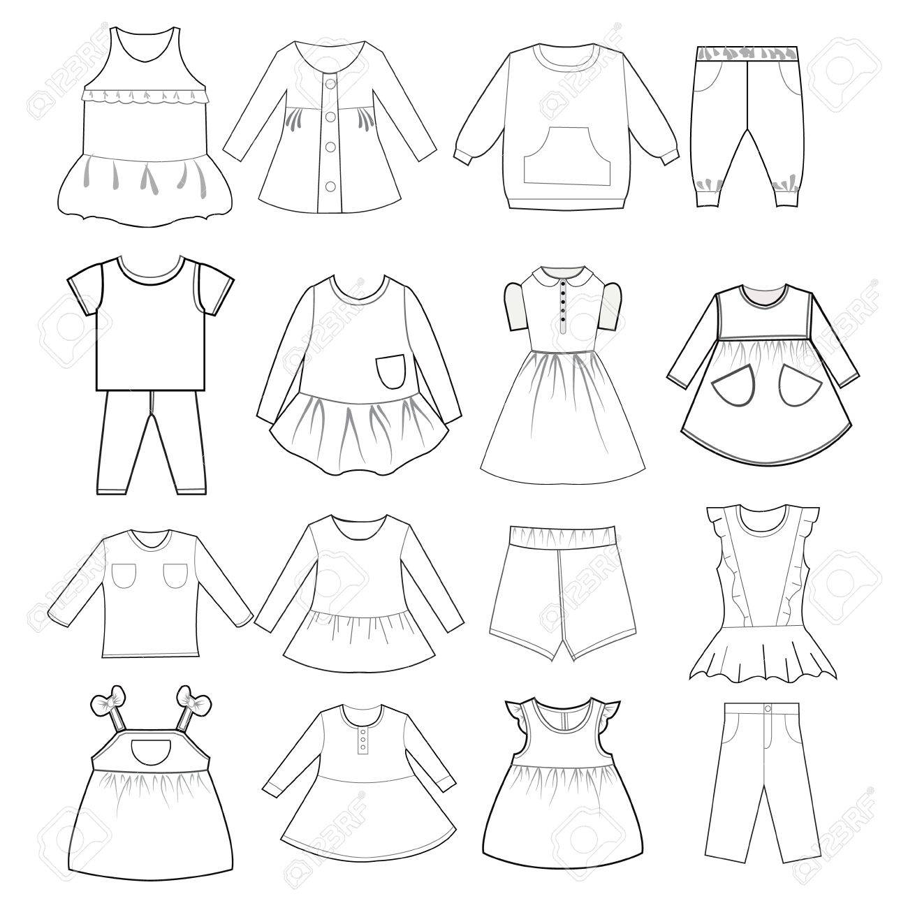 Vector Collection Of Skethch Baby And Children Clothes Babies Royalty Free Cliparts Vectors And Stock Illustration Image 53168515