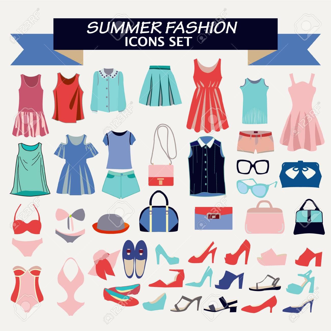fed393ad7 Foto de archivo - Moda hermosa colección de ropa de mujer y accesorios.  tienda de moda para la mirada de diseño de moda - Ilustración