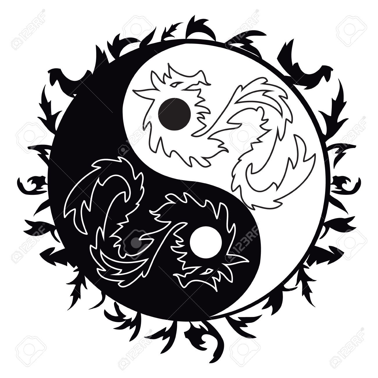 Yin Yang Symbol Asian Decoration Element Pattern On White Background