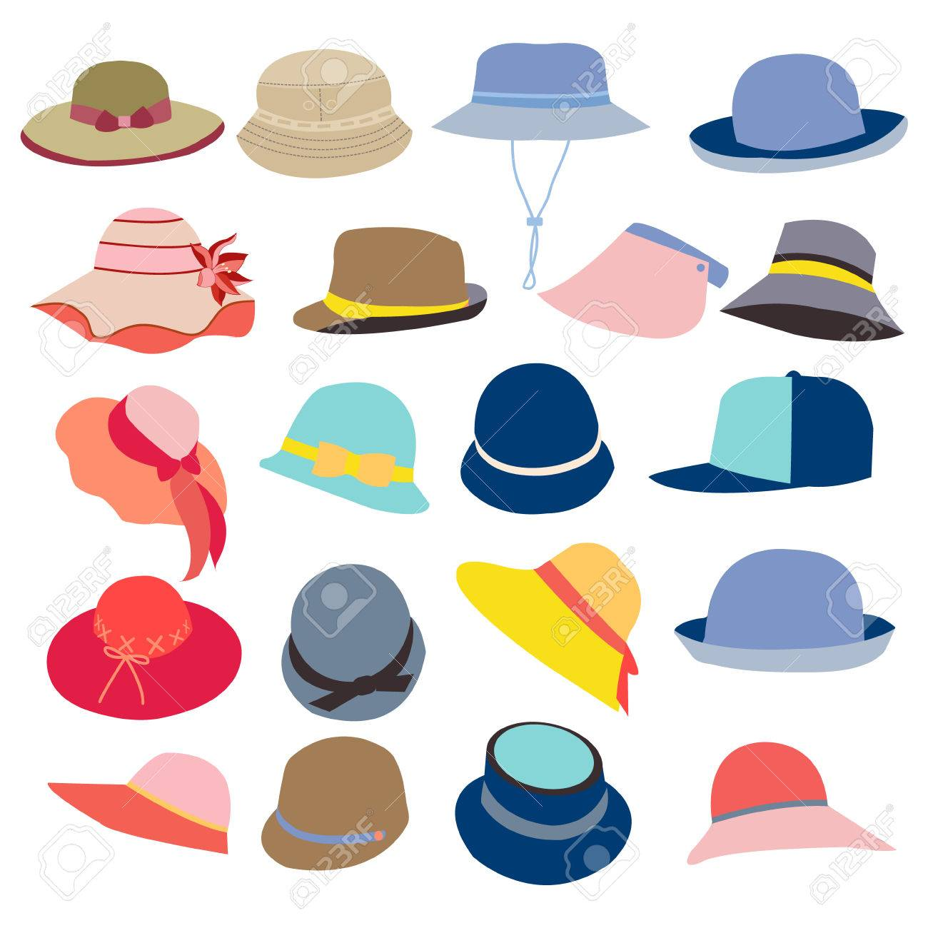 17cf5910bce95 collection of hats for men and women icons set, different types of hats  Stock Vector