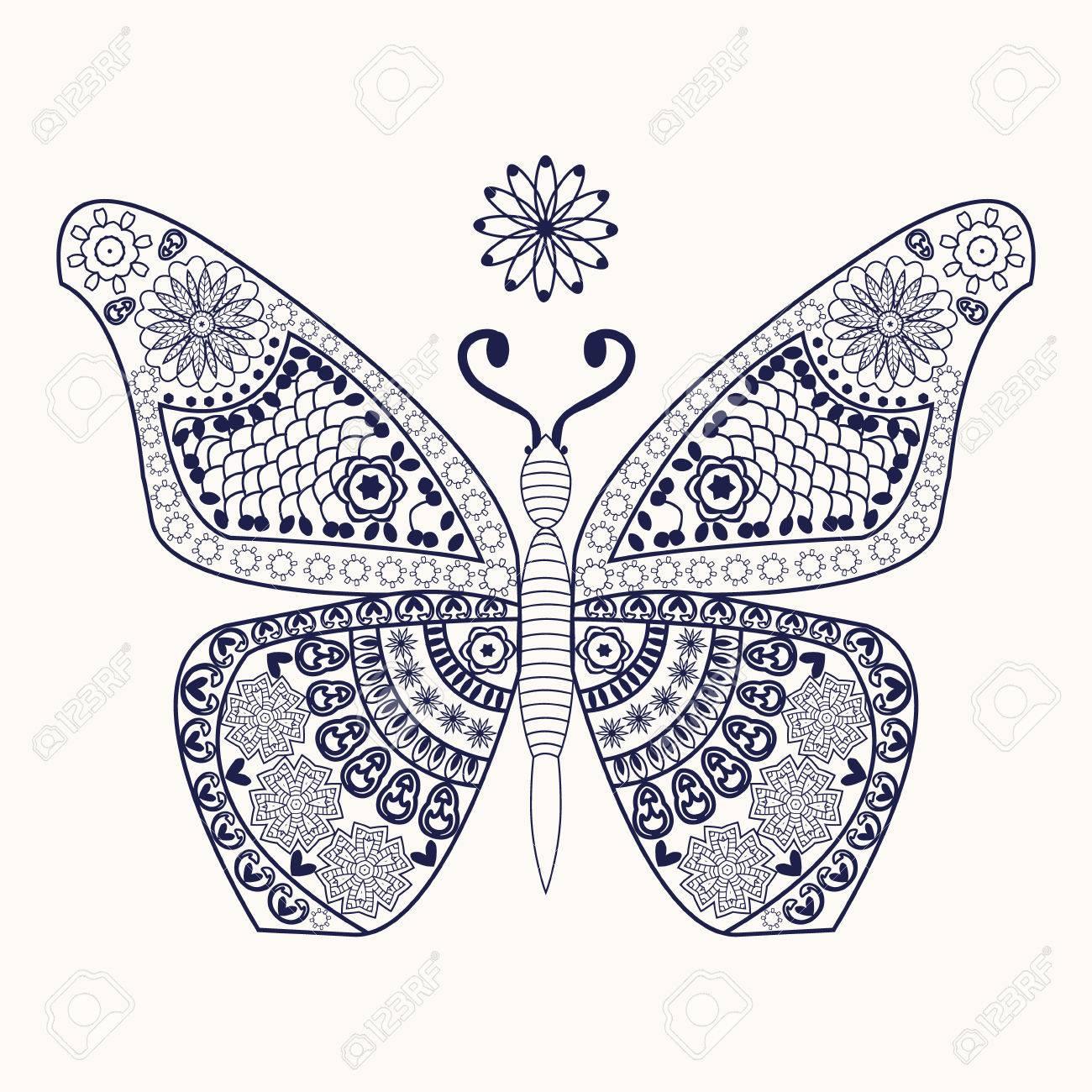 Mariposa Del Vector Para Colorear Página. Mariposa Decorativa De La ...