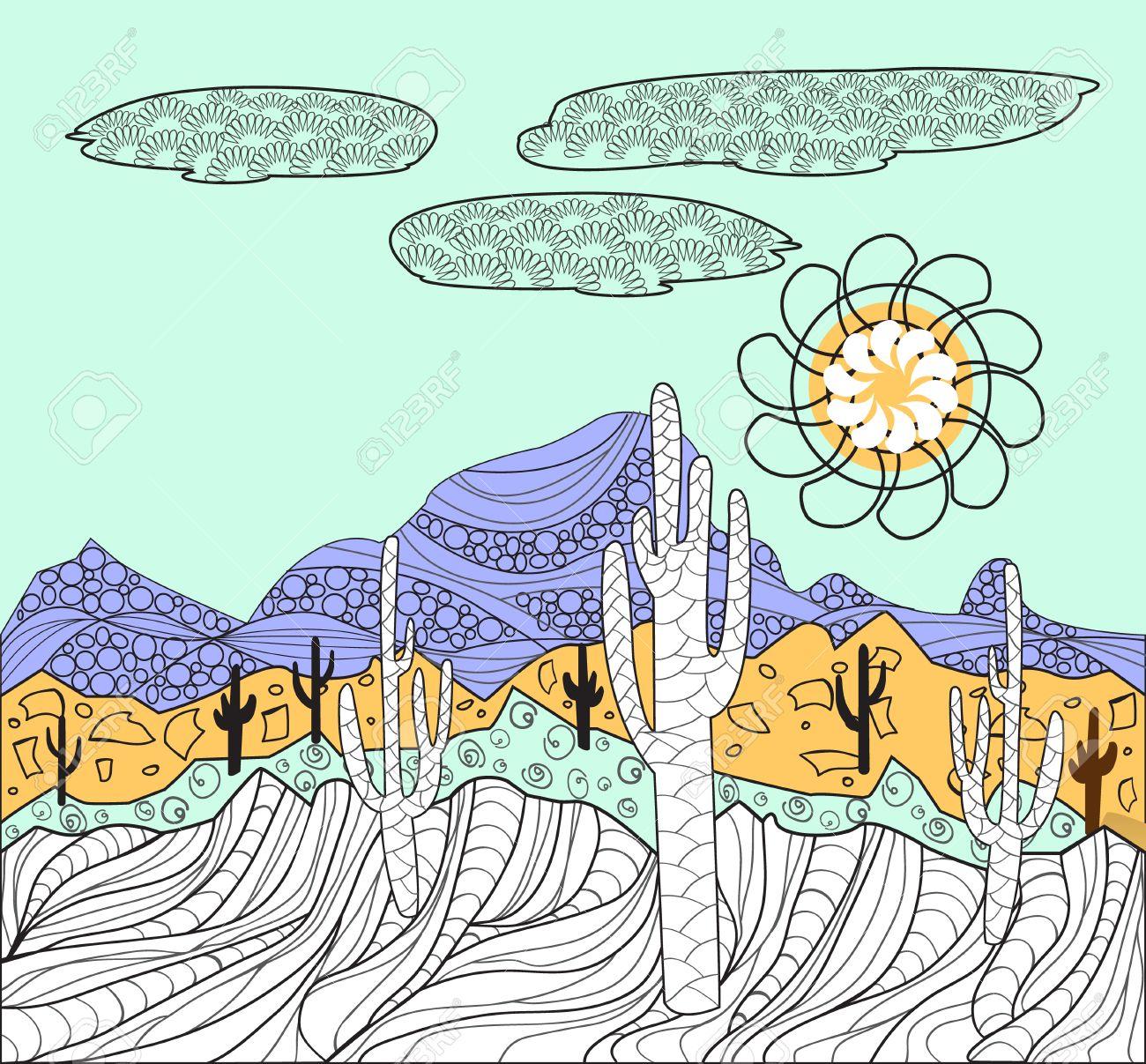 Desierto Del Vector Paisajes De La Naturaleza Salvaje Con Cactus Y ...