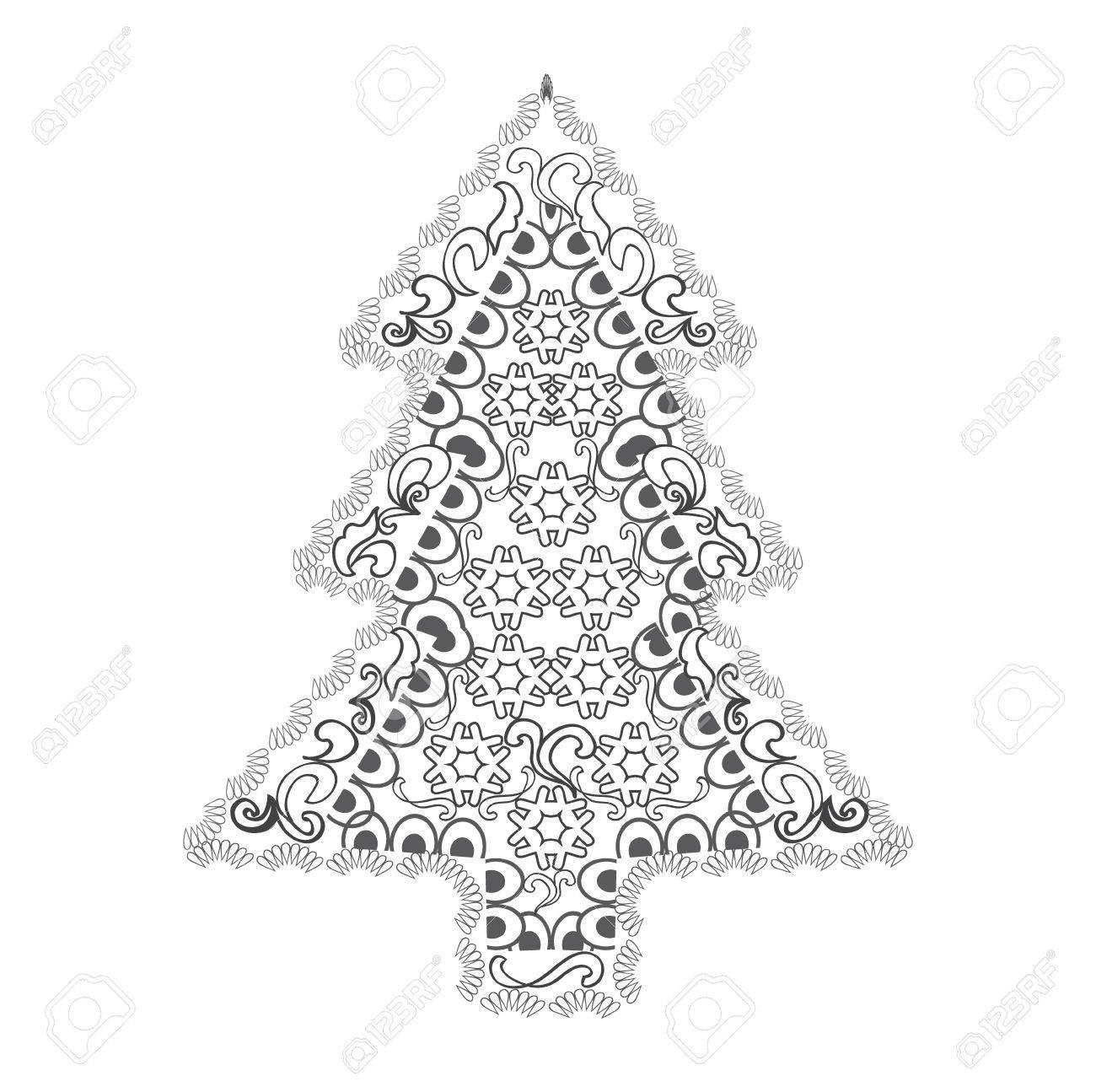 Coloriage Adulte Bonne Annee.Bonne Annee Et Joyeux Noel Carte Arbre De Noel Dans Le Style