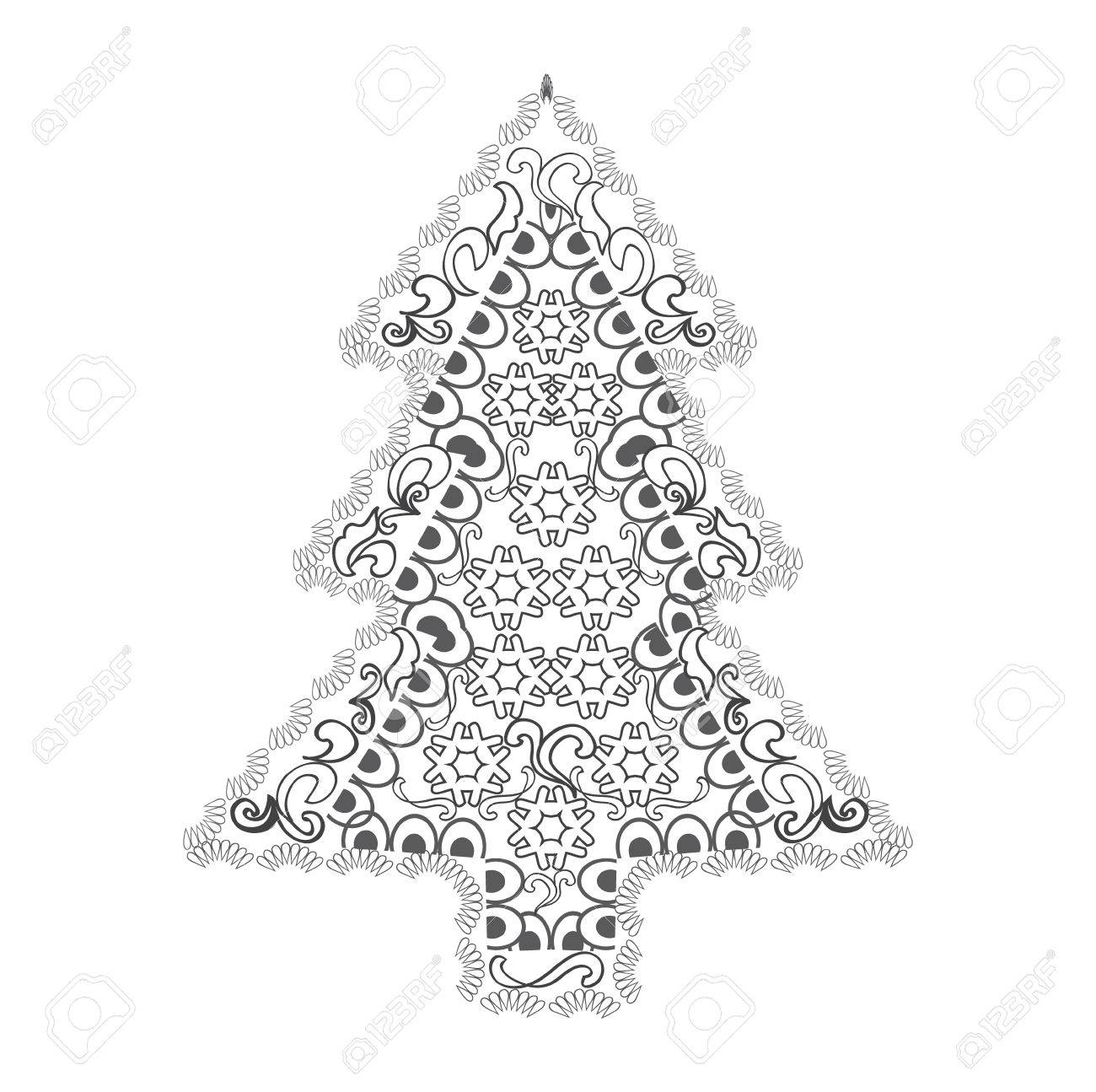 happy new year and merry christmas card christmas tree in zentangle style for adult anti