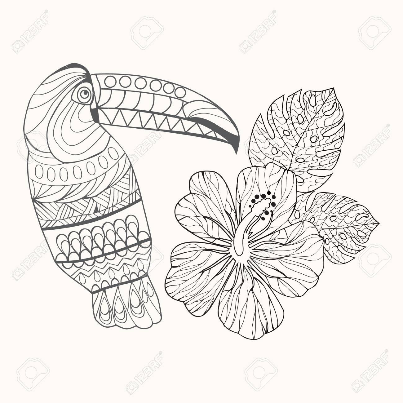Malvorlagen Hibiskusblüten  Coloring and Malvorlagan