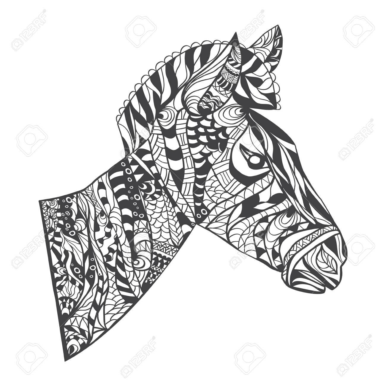 Zentangle Estilo De Ilustración Vectorial Cabeza Zebra, La Impresión ...