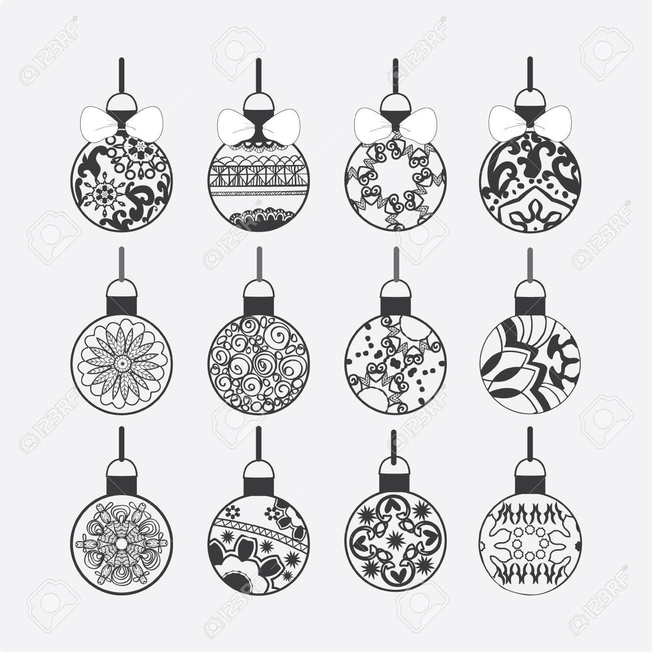 Vector Set Of Christmas Balls Isolated On White Background ...