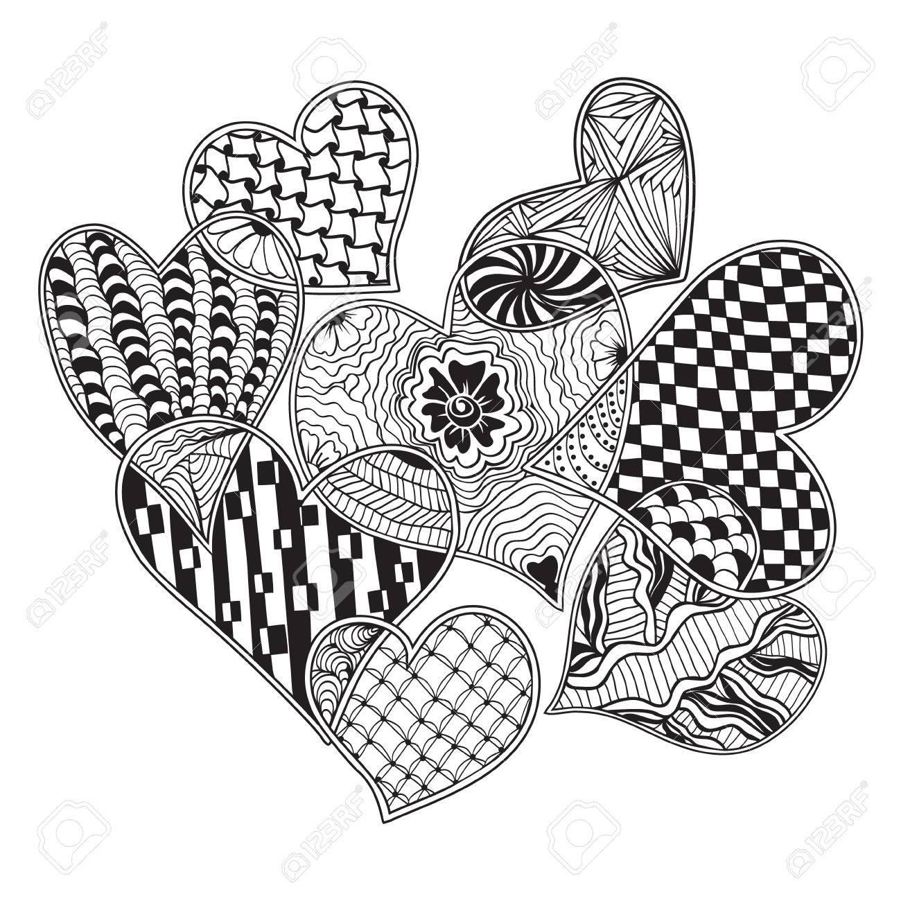 Vector Pattern Of Hearts Ornate Zentangle Style Decorative Symbol