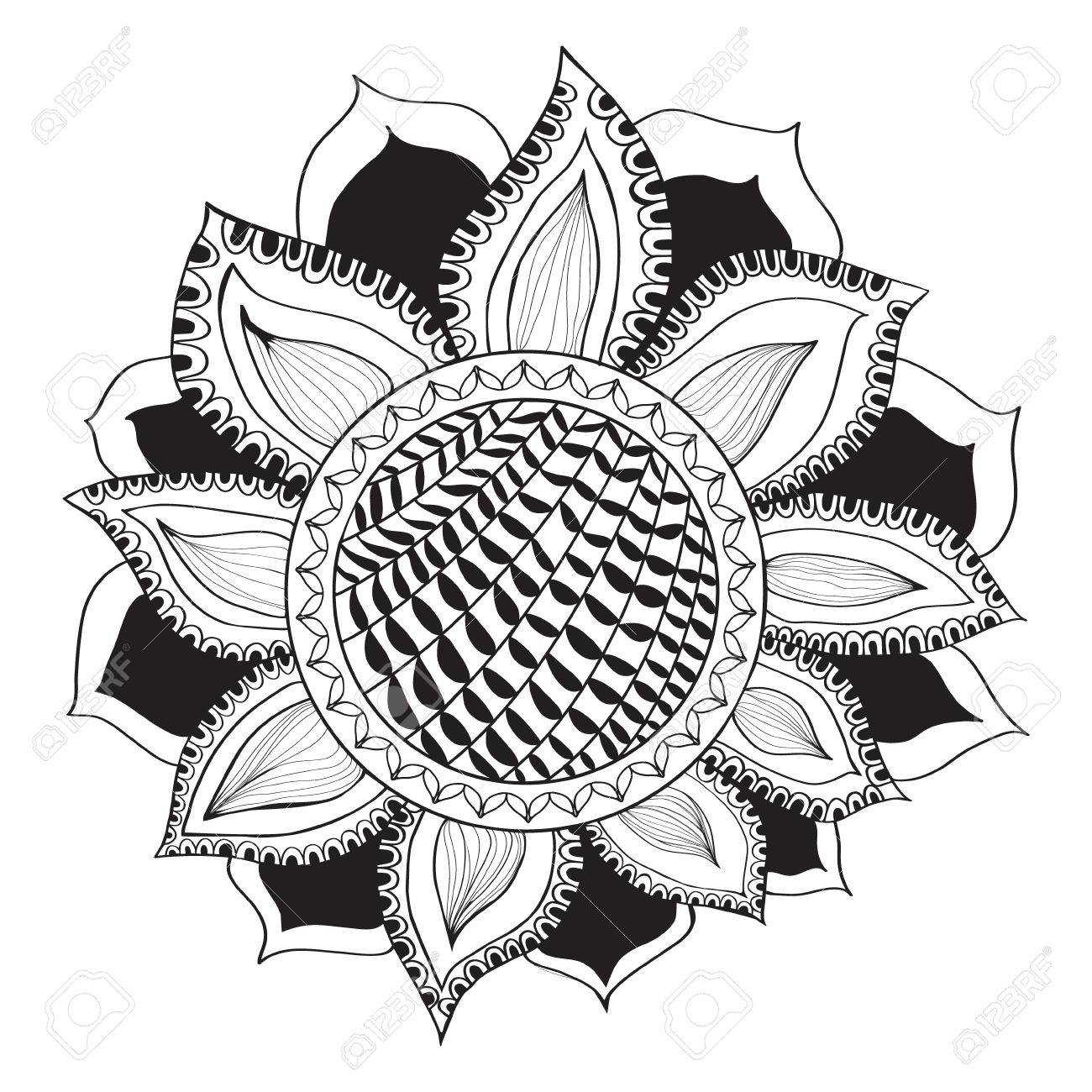 Sonnenblume Im Doodle-Stil. Ausmalbilder - Sonnenblume, Design Für ...