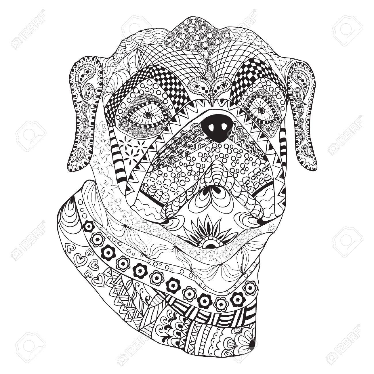 Bulldog Porträt. Hand Gezeichnet Stilisierte Hund Mit Ethnischen ...