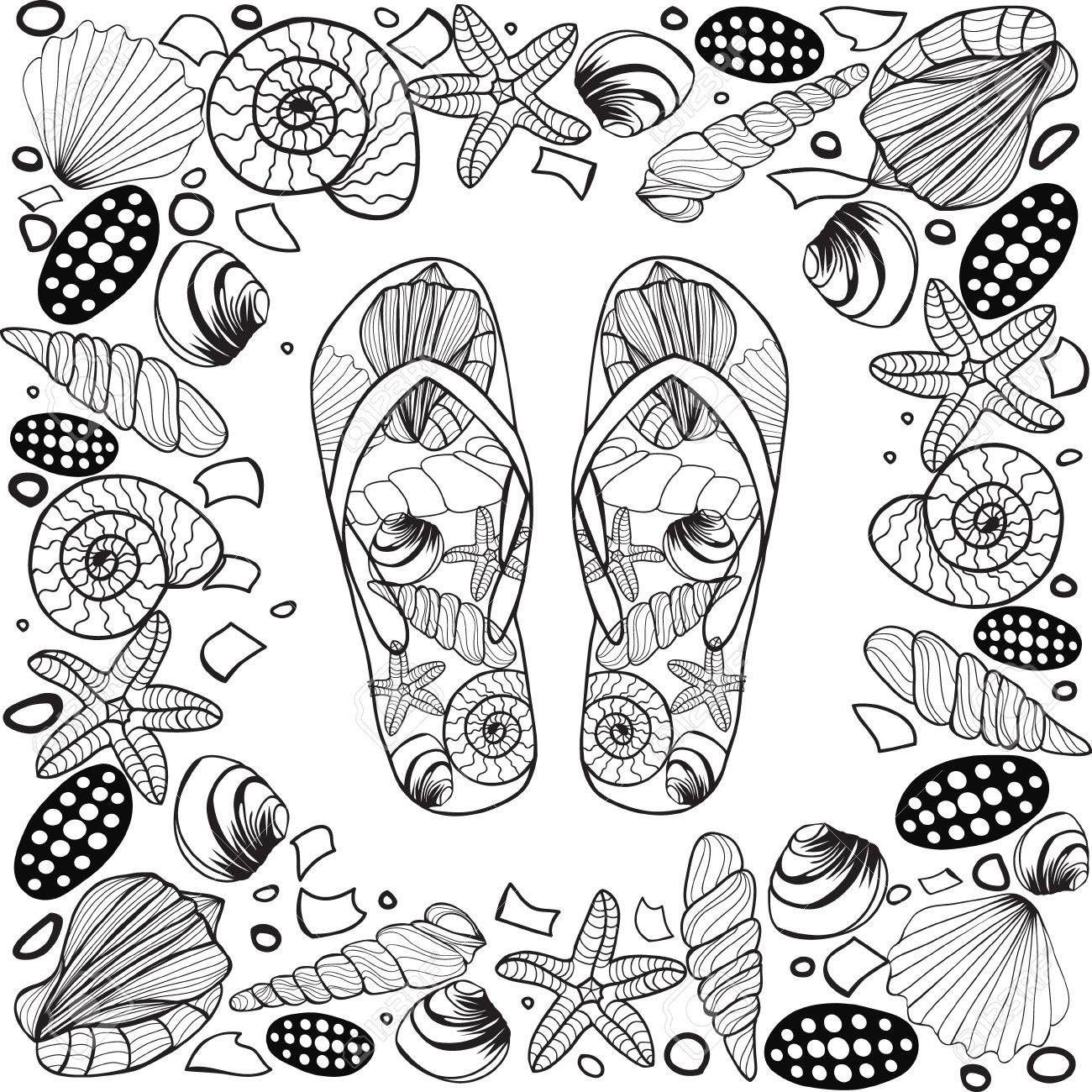 hand drawn seashell border frame with flip flop vector