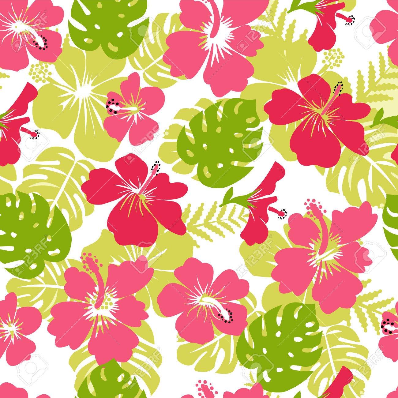 Pattern of tropical leaves and flowers hibiscus flower hawaii pattern of tropical leaves and flowers hibiscus flower hawaii summer background vector illustration stock vector izmirmasajfo